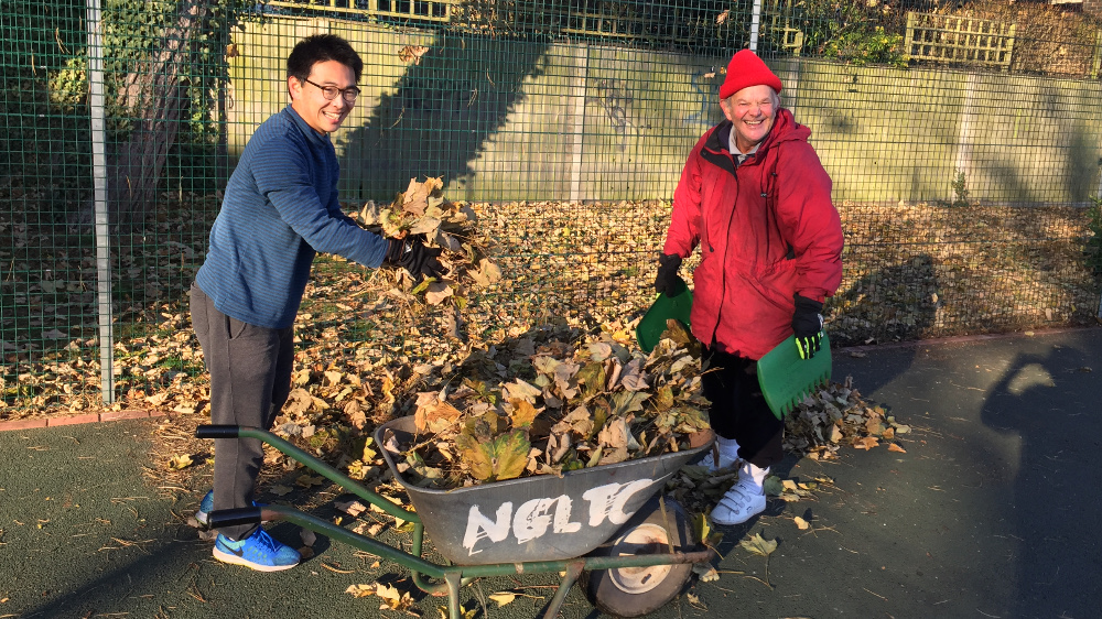 Chun and Trevor take charge of the official NGLTC wheelbarrow