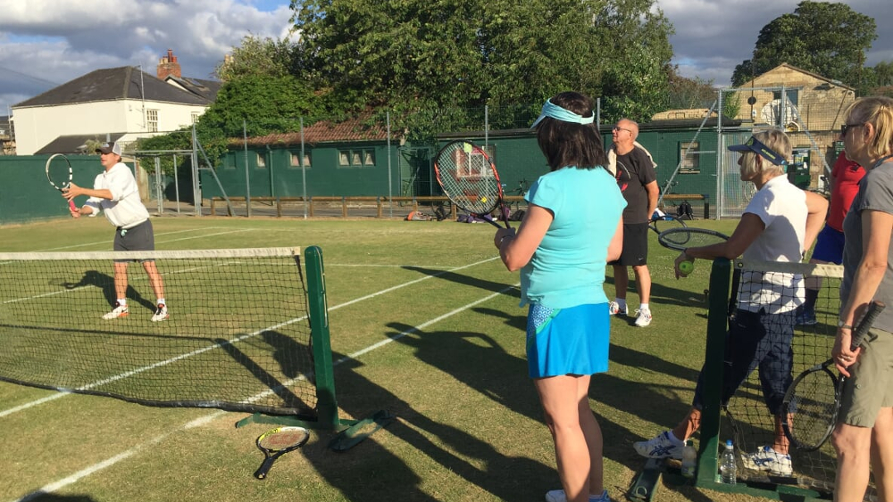 Norham Gardens coach James demonstrates his alert stance at the net