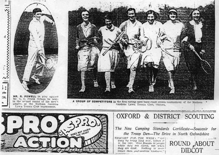 An extract from the Oxford Mail of 6 May, 1931, showing photographs of competitors in the first Norham Gardens LTC spring tournament.