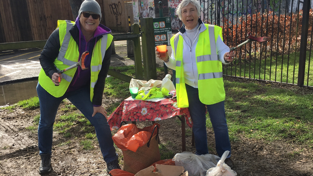 The pick of the litterpickers. Lee Brock and Lesley Evans tidy up Alexandra Park for Oxclean
