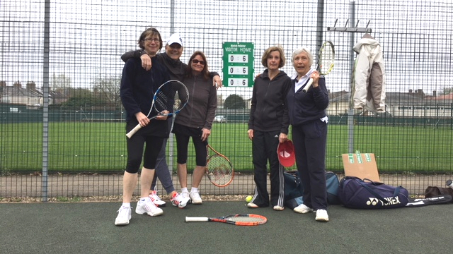 Ladies team, left to right: Suzanne Williams, Lee Brock, Karen de Wijs, Jane Humphries, and Lesley Evans
