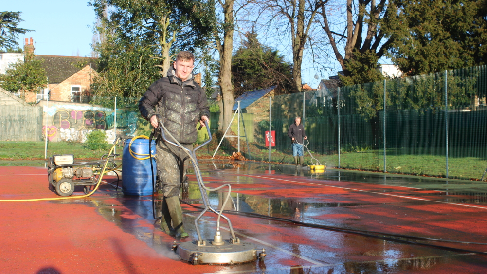 Treatment consists of pressure cleaning, followed by an anti-moss spray
