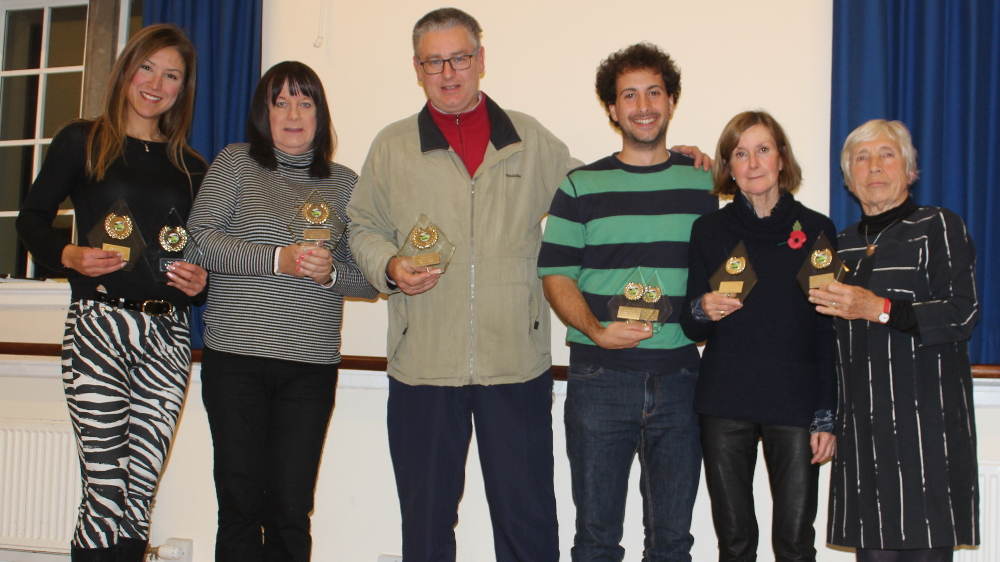 Left to right: Eli Zambrano (ladies singles, and mixed doubles), Suzy Leigh (mixed doubles), Luca Signiori (men's singles), Martino Bardelli and Jane Humphries (mixed doubles runners-up), and Lesley Evans (ladies singles).