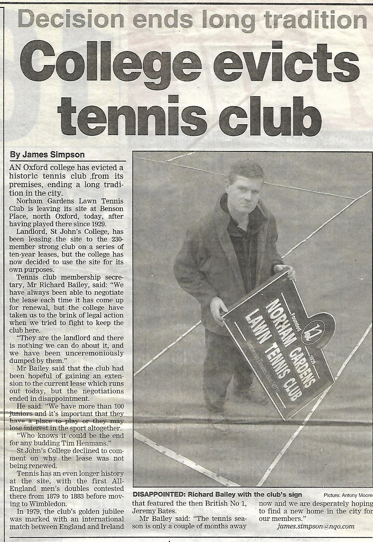 From the Oxford Mail of 10th January 2002.
